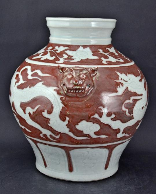Red Underglazed Dragon Jar