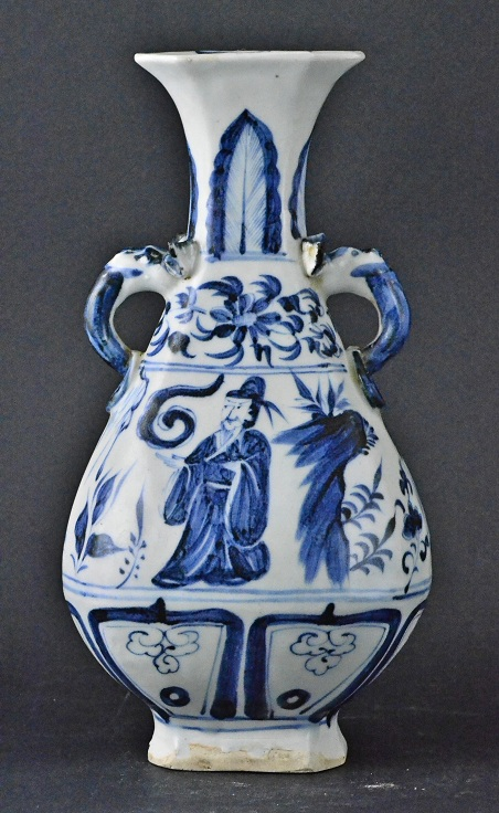 Blue and White Hexagonal Vase, Yuan Dynasty