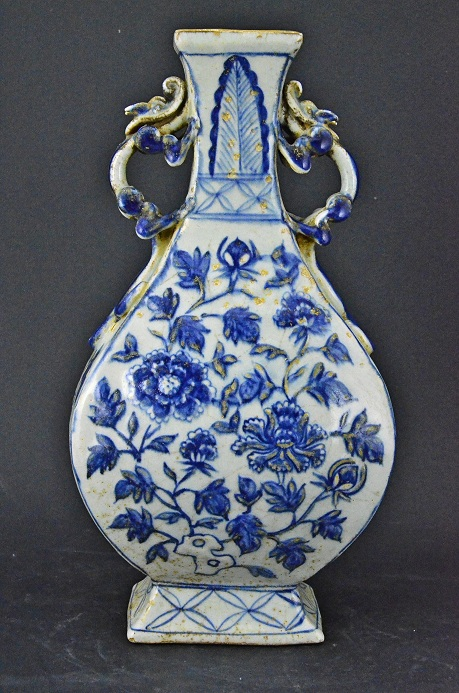 Blue and White Rectangular Vase, Yuan Dynasty