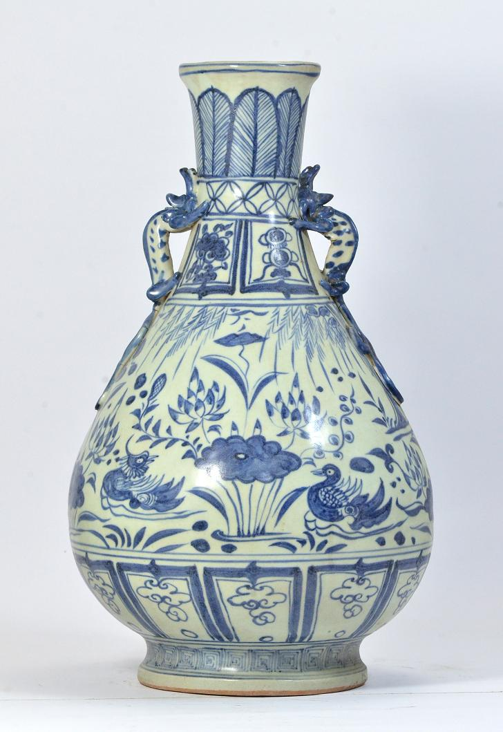 A Rare Blue and White Vase, Yuan Dynasty