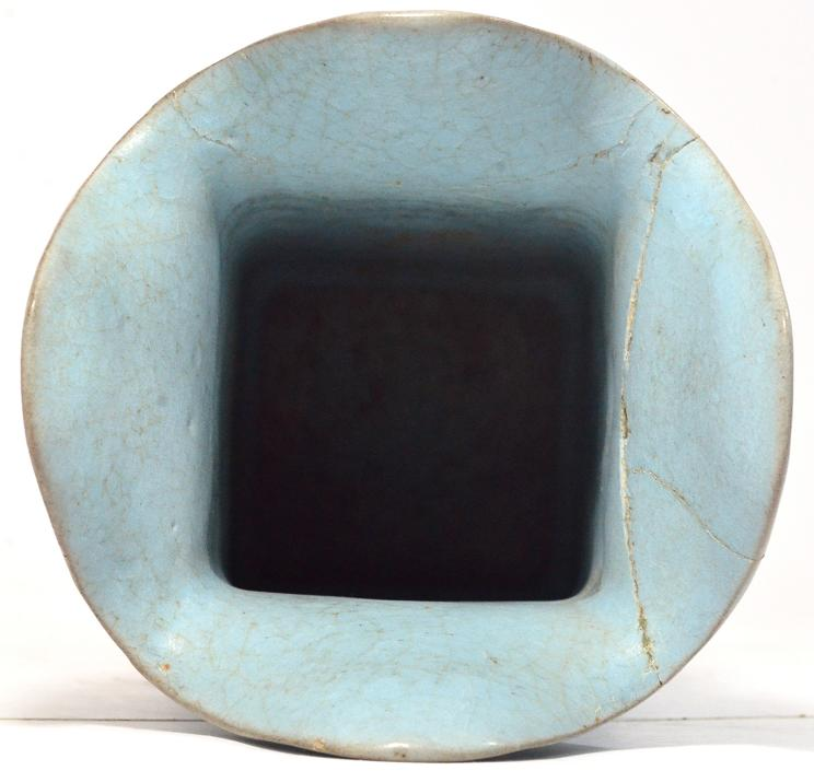 A Rare Ru Kiln Ware Square Vase, Song Dynasty