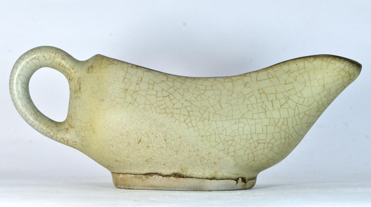 White Ge Ware Cup Boat Shaped, Song Dynasty