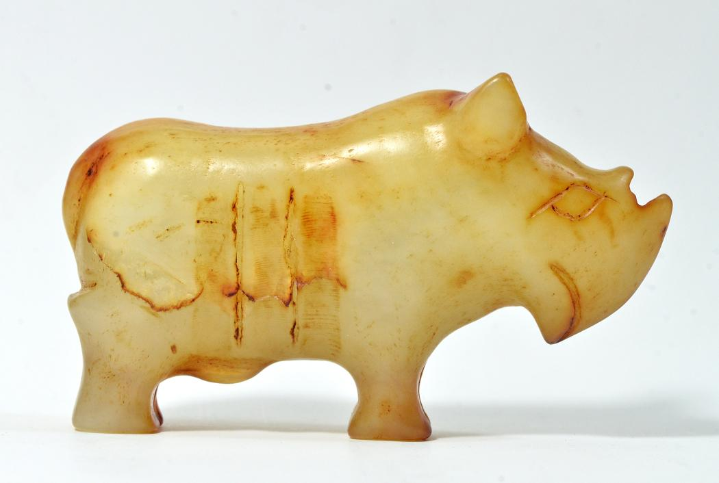 A Rare White Jade of Rhino, Song Dynasty