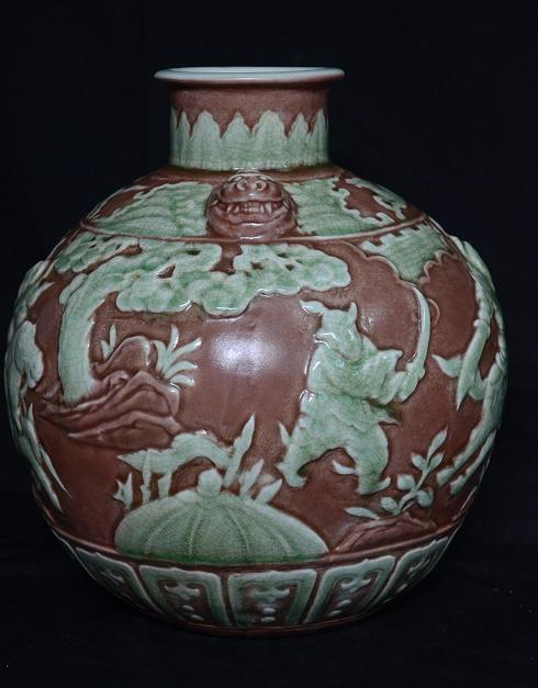 Globular Bottle Carved, Ming Dynasty